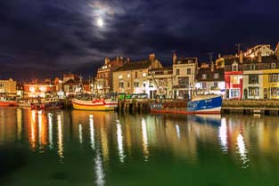 weymouth harbour and seaside town, dorset, england,uk